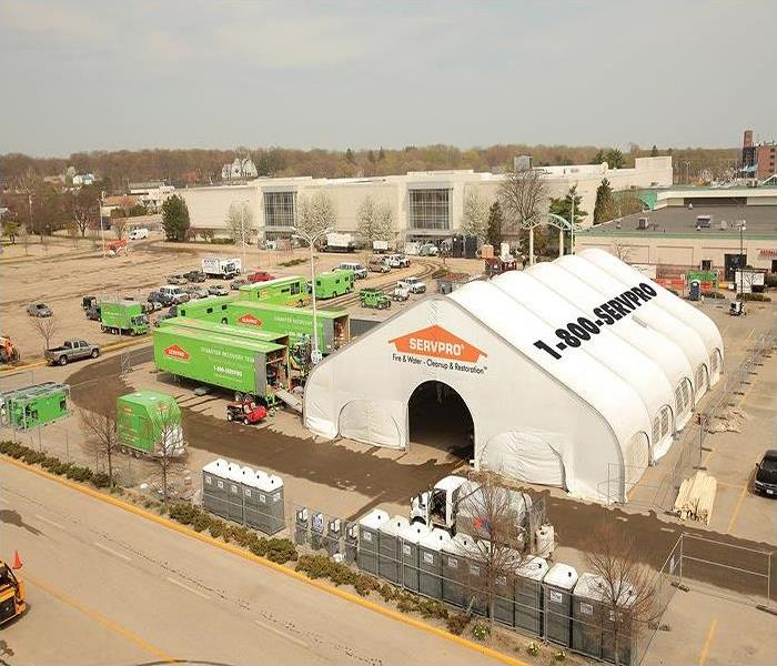 A white tent with a SERVPRO logo in the front and 1-800-SERVPRO on the side. Many SERVPRO trucks on the left.
